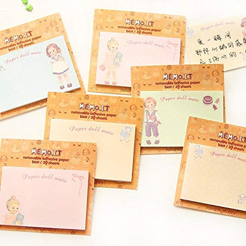 - 10 pcs/Lot Memo it sticky notes Paper doll mate Removable adhesive paper Gift cute stationery material supplies