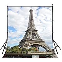 Lyly County 5x7ft Photography Backdrop White Clouds Paris Eiffel Tower Studio Photo Background Props (Upgrade material) LY017