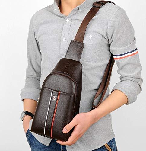 Chest Bag Home Borsa a Tracolla in Pelle PU Casual da Uomo Multifunzione Borsa a Tracolla Sportiva all'aperto Moda Messenger Messenger (Marronee)