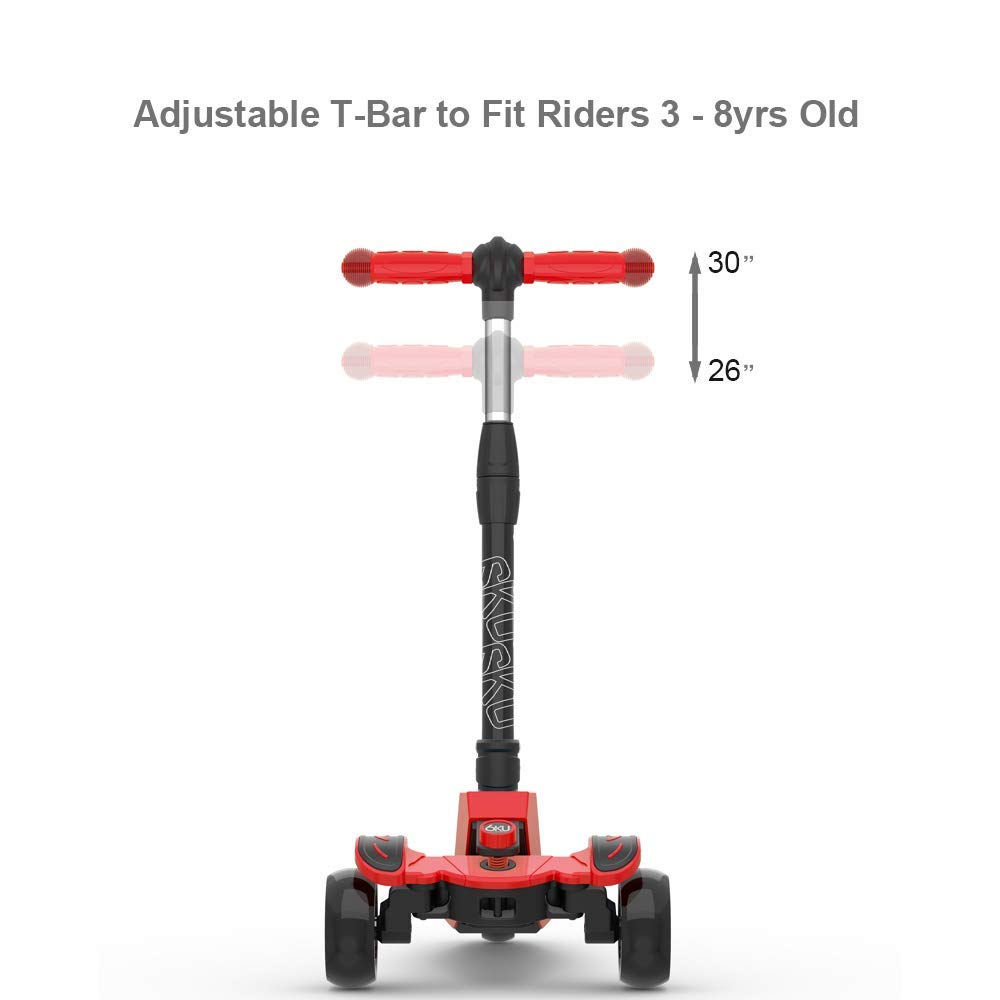 6KU Kick Scooter for Kids & Toddlers Girls or Boys with Adjustable Height, Lean to Steer, Flashing Wheels for Toy Children 3-8 Years Old Red by 6KU (Image #6)