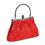 Chichitop Women's Vintage Beaded And Sequined Evening Bag Wedding Party Handbag Clutch Purse, Red