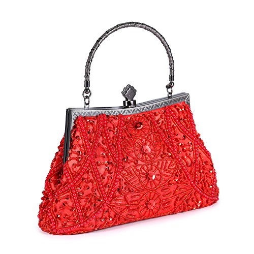 Chichitop Women's Vintage Beaded And Sequined Evening Bag Wedding Party Handbag Clutch Purse, Red by Chichitop