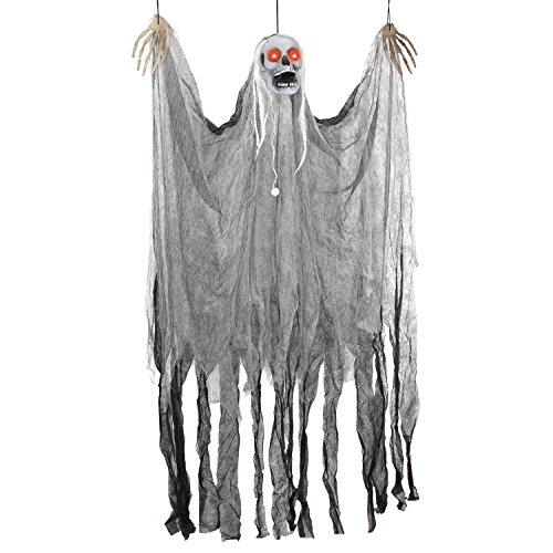 Halloween Haunters Animated Hanging Scary Shaking Skull Reaper Door or Wall Curtain Prop Decoration - Red LED Flashing Eyes, Screams, Moans, Laughs - Haunted House, Graveyard, Tree, Entryway Display ()