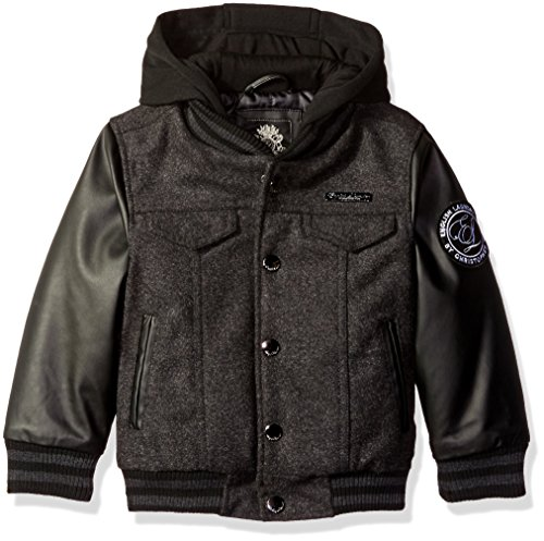 English Laundry Boys' Wool Jacket With Faux Leather Sleeves and Fleece Hood