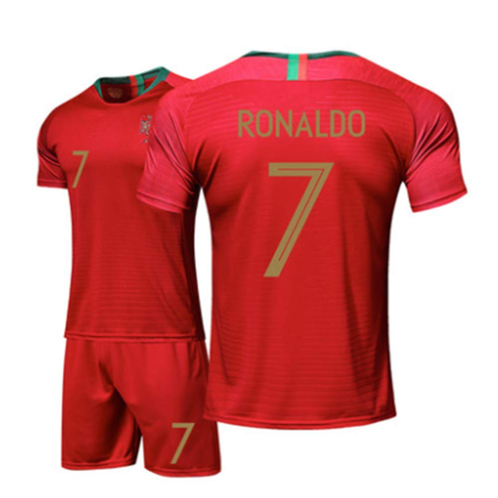 Zhengbao Divisa da Calcio Estiva Casa del Portogallo Juventus Maglia Ronaldo Camicia Fan Camicia E Pantaloncini per La Casa Dimensioni dei Bambini E dei Giovani