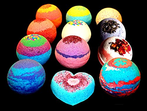 Bath Bombs - 9 pack FIZZY - 4.5 ounce BATH BOMB - Organic Colorful Mix and Match
