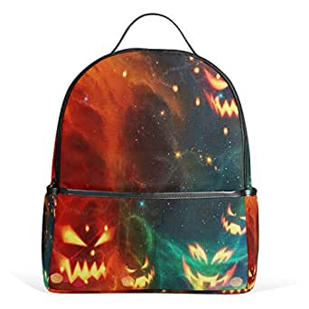 WIHVE Halloween Pumpkin Lantern Kids Lightweight School Backpack Bookbag 1th to 4th Grade for Teen Girls & Boys