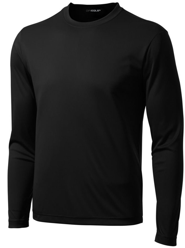 DRI-Equip Tall Long Sleeve Moisture Wicking Athletic Shirt-Black-3XLT by Joe's USA