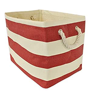 "DII Woven Paper Storage Basket or Bin, Collapsible & Convenient Home Organization Solution for Office, Bedroom, Closet, Toys, & Laundry (Medium - 15x10x12""), Tango Red Rugby Stripe"