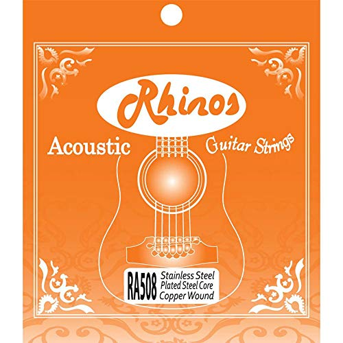 Bronze Wound Extra Light - Rhinos Acoustic Guitar Strings Set 80/20 Bronze Wound Light Gauge 12-53,RA535L