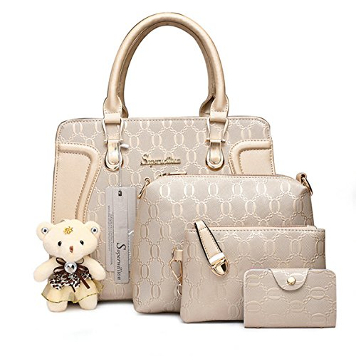 Soperwillton Handbag for Women Tote Bag Shoulder Bags Satchel 4pcs Purse -