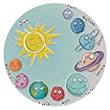 iPrint Round Tablecloth [ Space,Cute Cartoon Sun and Planets of Solar System Fun Celestial Chart Baby Kids Nursery Theme,Multi ] Fabric Home Decor Set