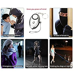 2 PACK Personal Safety Alarm 130 DB loud, Security device for Women Kids Girls Elderly, Emergency Key chain for women, Self-defence anti theft attack rape sos, Safe Night worker LED light (Silver)