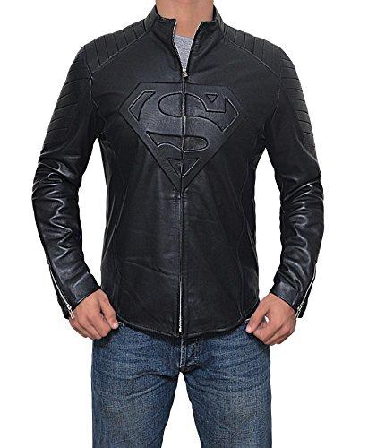 Mens Black Superman Leather Slim Fit Jacket (Superman Jacket, XL) by Decrum (Image #4)'