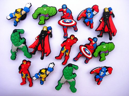 14 Avengers Iron Man Captain America Shoe Charms for Fit Jibbitz Croc Shoes