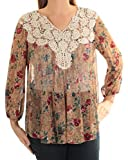 Vintage America Blues Women's Smoke Printed Top with Lace Detail, Dull Gold Print, Large