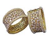 CROWN JEWEL Indian Ethnic 2PC Gold Plated Kada Jewelry CZ Pearl Bangles Bracelets Set (2.25)