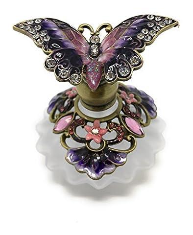 Bejeweled Purple Butterfly Perfume Bottle by Welforth, 2.25T - Butterfly Perfume Stopper Bottle
