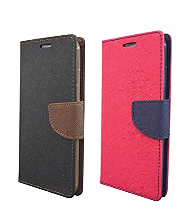 COVERNEW 2 Flip Cover for Samsung Galaxy ON 8::Samsung Galaxy ON8 Old 2016  Edition   Black Brown::Pink 2Mercurry GalaxyON8BlackBrown Pink Cases   Cov