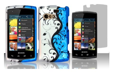 - Blue Vine Protector Hard Shell Faceplate Cover Phone Case + Screen Protector for Kyocera Rise C5155