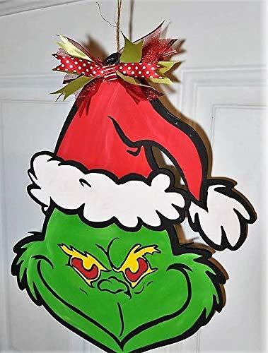 Handpainted Wood Door Hanger Christmas Grinch