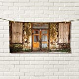 smallbeefly Rustic Sports Towel Damaged Shabby House with Boarded Up and Rusty Doors and Moldy Windows Photography Absorbent Towel Multicolor Size: W 12'' x L 35.10''