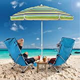 MOVTOTOP 6.5ft Beach Umbrella, UV 50+ Protection Beach Umbrella with Sand Anchor and Tiltable Aluminum Pole, Windproof Beach Umbrella with Portable Carry Bag for Outdoor Travel