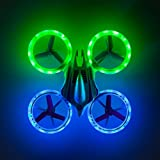 """Force1 Mini Drone for Kids – """"HALO 3000"""" Quadcopter Drone w/Glowing RC Drone Mini LED Lights + Bonus RC Drones Battery and Mini Drone Blades"""