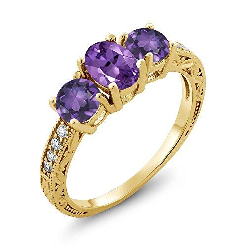 (Gem Stone King 18K Yellow Gold Plated Silver Purple Amethyst Women's Ring 1.77 Ct Oval, Gemstone Birthstone (Size 6))