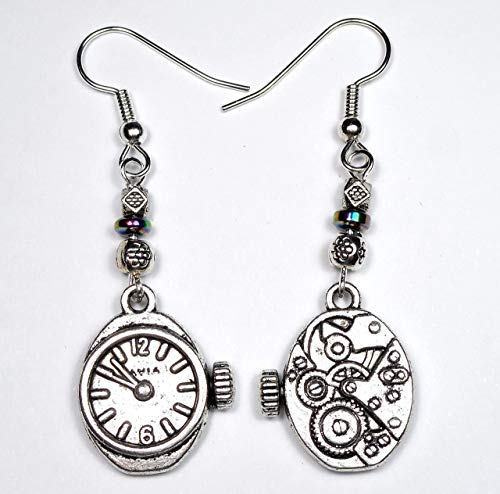 (Double Sided Silver Tone Watch Charm and Metal Bead Steampunk Earrings, Doctor Who Time Travel Gift)