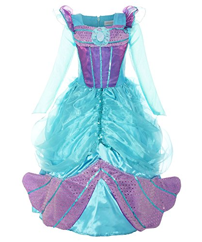 [ReliBeauty Little Girls Princess Dress Up Mermaid Costume, Sea Blue & Purple, 7] (Ariel Blue Dress Costumes)
