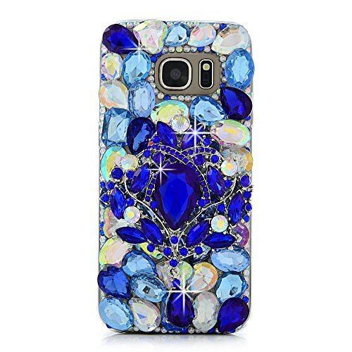 Spritech(TM Bling Phone Cover for Samsung Galaxy S7 Edge,3D Handmade Blue Crystal Design Clear Hard Cellphone Case