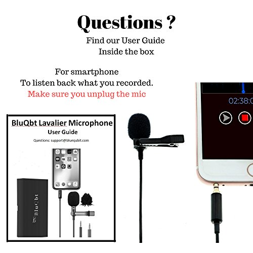 """Lavalier Lapel Podcast Iphone Microphone:BluQbt Professional High Audio Quality Clip On Microphone Lav Mic Great for Youtube Camera Vlogging. 118"""" cable and carry case, compatible with Apple by BluQbt (Image #6)"""