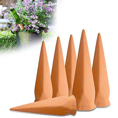 TOP-MAX Self Watering Spikes, Automatic Waterer, Self-watering System, Terracotta Self Watering Stakes for Indoor Outdoor Plants, Gardening, 6 Pack by TOP-MAX