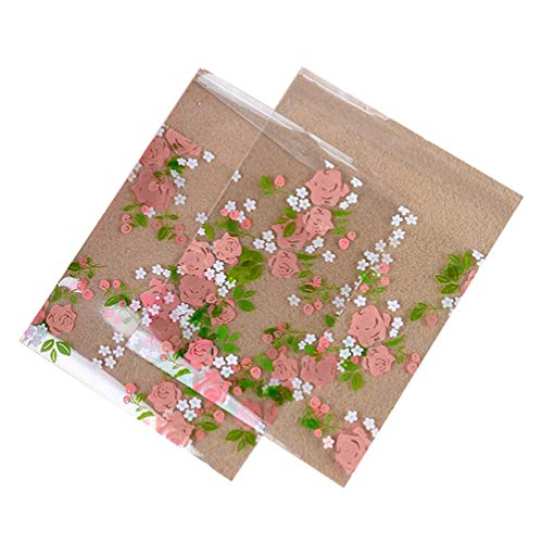 100 PCS 3.9x3.9 Inch Transparent Simple Pink Rose Pattern Print OPP Flat Mouth Self-Sealing Poly Cellophane Glassine Packing Bags Pouches Cookie Candy Biscuits Container for Gift Wrapping