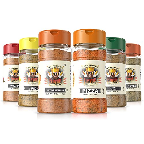 Flavor God Seasonings - Meal Prep Combo - Everything Spicy, Garlic Lovers, Lemon Garlic, Pizza, Buffalo, and Chipotle (Gluten Free, GMO Free, MSG Free, Low Sodium, Paleo Friendly) (Best Flavor God Seasoning)