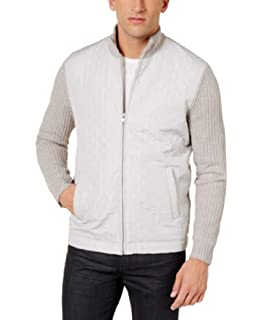 Alfani Men/'s Washed White Quilted-Front Zip Cardigan Sweater Large