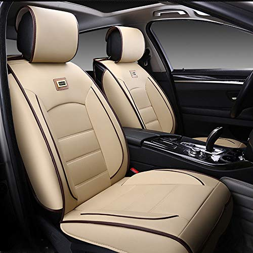 11Pcs Deluxe PU Leather Auto Car Seat Covers Cushions Front Rear Universal fit for Vehicles,Cars,SUV Elastic Sponge Inside Size L (Beige)