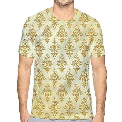 t Shirt for Men Mustard,Victorian Damask Petals Custom t Shirt XXL