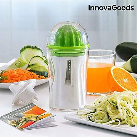 Compra InnovaGoods IG811297 Cortador de Verduras y Exprimidor 4 en 1 con Recetario, Verde en Amazon.es