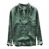 iHPH7 Tops Blouse Big and Tall Long Sleeve Button Down Retro Plaid Shirt Button Pocket Plus Size Turn-Down Collar Shirts Men (XL,Green)