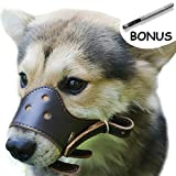 Adjustable Leather Dog Muzzles, Lightweight Durable, for Anti-biting Anti-barking Anti-chewing Safety Protection (S, Brown)