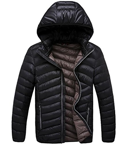 Casual Warm Hooded Pockets Down 8 Men's Parka Cardigan Cozy Zip AngelSpace Xqw1FOR