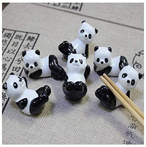 Shihua Chinese Ceramic Panda Pattern Chopsticks Rest Spoon Fork Knife Holder Rack Practice Furnishing Articles (6 Pandas)