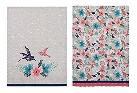 Sarah Watts Morning Dew Dusty Pink Hummingbirds Birds Designer Kitchen Dish  Tea Towels Dishcloths Set Of