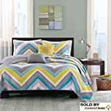 OSD 4pc Twin XL Zig Zag Chevron Coverlet Bedspreads Teenage Girls or Adults, Turquoise Yellow Gray Blue White Aqua Grey Chic Bright Vibrant Colorful Design, Medallion Decorative Pillows