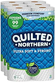 Quilted Northern Ultra Soft and Strong Earth-Friendly Toilet Paper, 24 Supreme Rolls = 99 Regular Rolls, 340 2