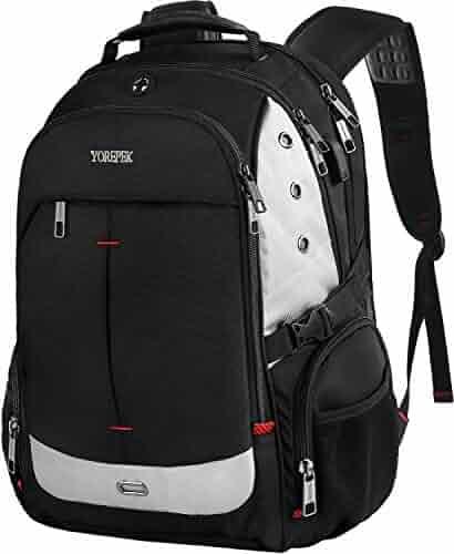 Large Laptop Backpack,Extra Large Travel Laptop Backpacks USB Charging Port Men&Women,TSA Friendly Water Resistant Big Business College School Computer Bookbag Fit 17-inch Notebook,Black