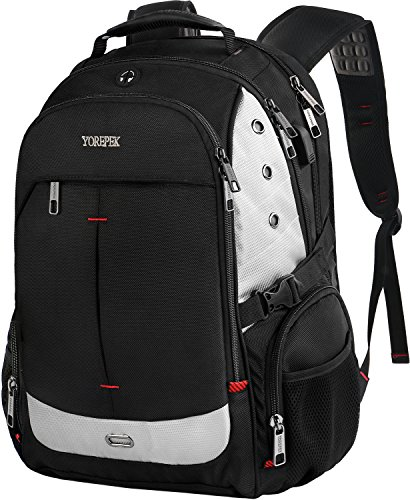 Large Laptop Backpack,Extra Large Travel Laptop Backpacks with USB Charging Port for Men&Women,TSA Friendly Water Resistant Big Business College School Computer Bookbag Fit 17-Inch Notebook,Black by YOREPEK