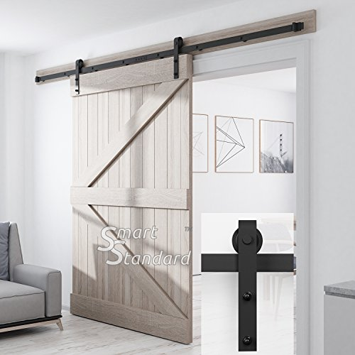 SMARTSTANDARD SDH1000JSHAPE01BK Heavy Duty Sturdy Sliding Barn Door Hardware Kit, 10' DoubleRail,Super Smoothly and Quietly, Simple and Easy to Install, Fit 60'' Wide DoorPanel by SMARTSTANDARD